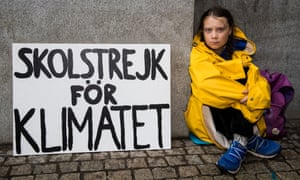 Greta Thunberg leads a school strike and sits outside of the Swedish Parliament in an effort to force politicians to act on climate change on August 28, 2018 in Stockholm, Sweden