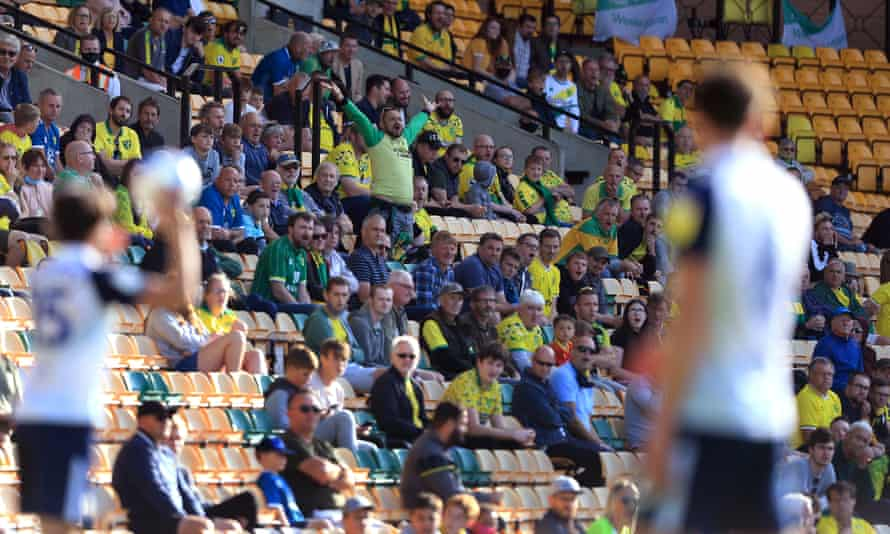 A limited number of spectators watch Norwich's game against Preston in September.