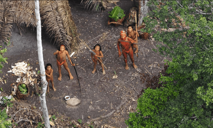 An uncontacted tribe in the Brazilian rainforest.