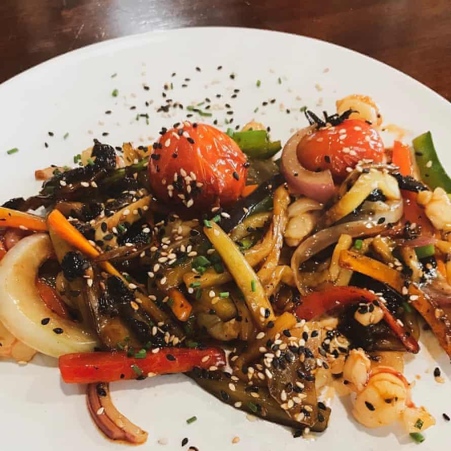 Vegetable dish at Recreo Chico, Cadiz, Spain.