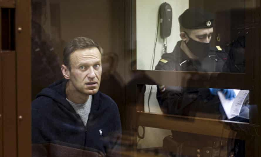 Russian opposition leader Alexei Navalny during a hearing on defamation charges in Moscow, February 2021.