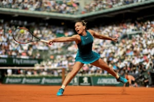 Romania's Simona Halep during her defeat of Sloane Stephens of the US in the women's singles final at the French Open.