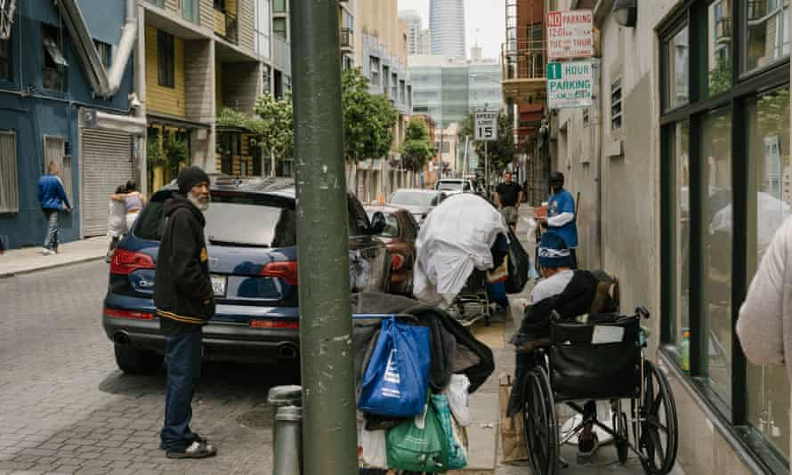 A street in the Mid-Market neighborhood. San Francisco has a waitlist of more than 1,100 for a shelter bed.
