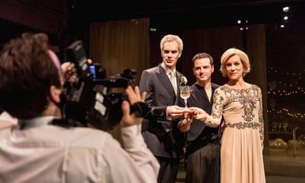 Angus Wright, Andrew Scott and Juliet Stevenson in Robert Icke's Hamlet.