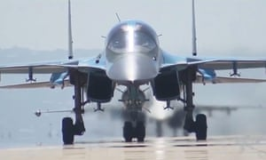 A Russian SU-34 bomber takes off from the Hmeymim airbase.