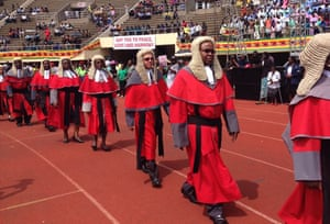 Harare, Zimbabwe. Judges arrive for Emmerson Mnangagwa's presidential inauguration ceremony at the National Sports Stadium