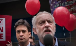 Labour leader Jeremy Corbyn and his predecessor Ed Miliband take part in an EU referendum rally in Doncaster on 27 May