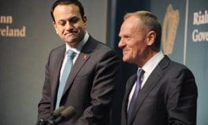 Donald Tusk (right) with the Irish prime minister, Leo Varadkar