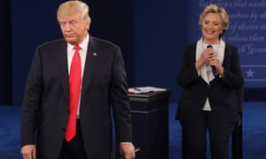 Second Presidential debateepaselect epa05579101 Democrat Hillary Clinton (R) and Republican Donald Trump (L) during the second Presidential Debate at Washington University in St. Louis, Missouri, USA, 09 October 2016. The third and final debate will be held 19 October in Nevada. EPA/JIM LO SCALZO