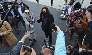Kamala Harris speaks to reporters before a campaign event today in Cleveland, Ohio.