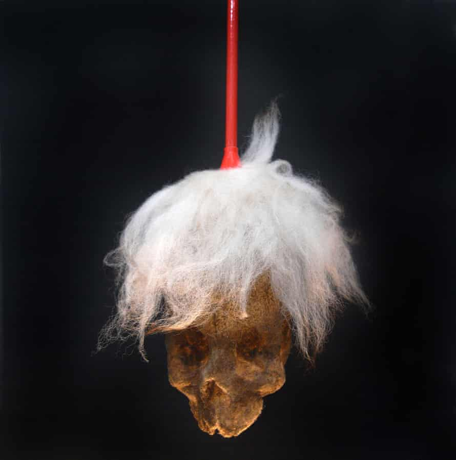 Paul Hazelton's Fright Wig, made from a duster and glued household dust.