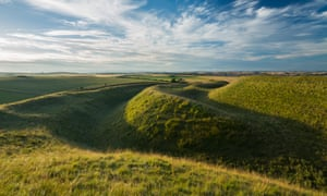 The western ramparts of Maiden Castle, an iron age hill fort near Dorchester