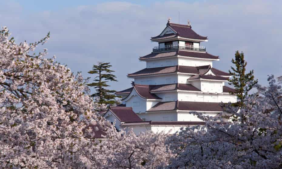 Tsuruga Castle surrounded by cherry blossoms, Aizuwakamatsu, Fukushima Prefecture, Japan.