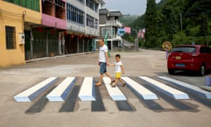 A 'floating zebra crossing' in Luoyuan village, China