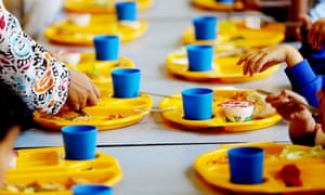 School meal trays on table