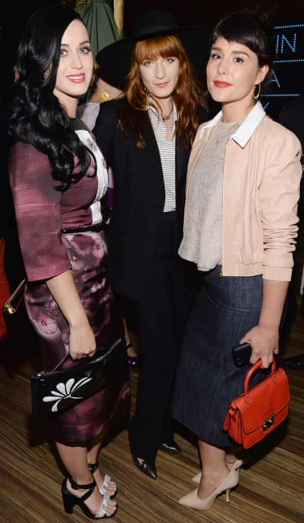 (L-R) Katy Perry (wearing Prada), Florence Welch (wearing Prada) and Jessie Ware (wearing Miu Miu) attend Catherine Martin And Miuccia Prada Dress Gatsby Opening Cocktail on April 30, 2013 in New York City