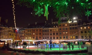 market place ice rink by night warsaw