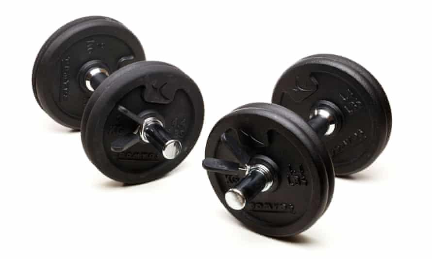 A set of two adjustable dumbbells
