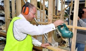 Treasurer Josh Frydenberg during a visit to a building site in Morphettville, Adelaide.