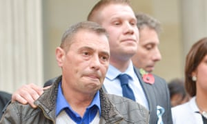 Darren Galsworthy (l) outside Bristol crown court after his stepson, Nathan Matthews, was found guilty of murdering Becky.