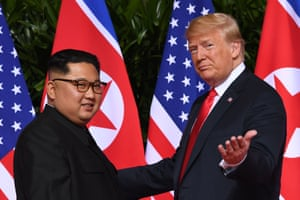 Kim Jong-un and Donald Trump at the 2018  summit in Singapore