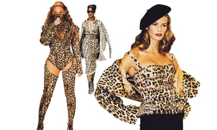 Beyoncé; a model at Azzedine Alaïa's 1991 autumn/winter show; Elle Macpherson.