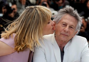 Emmanuelle Seigner and husband Roman Polanski at Cannes film festival in 2013.