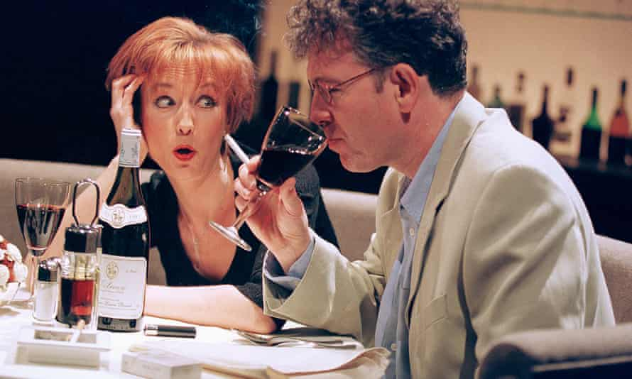 Lia Williams and Steven Pacey in Celebration at the Almeida, London, in 2000.