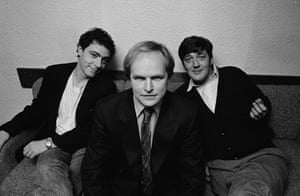 (L-R) John Sessions, Clive Anderson and Stephen Fry pictured for the BBC Radio 4 comedy series Whose Line Is It Anyway? in 1988.