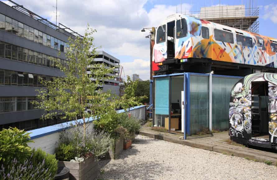 the Tube train artists' studios on top of Village Underground.