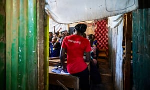A trainer in a school classrooms in Kibera, Kenya