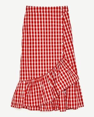 Ruffled gingham midi skirt.