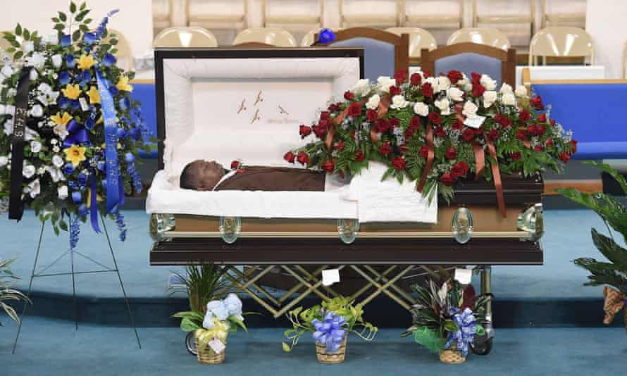 The body of Jonathan Sanders is displayed at the funeral service in Quitman, Mississippi, on Saturday.