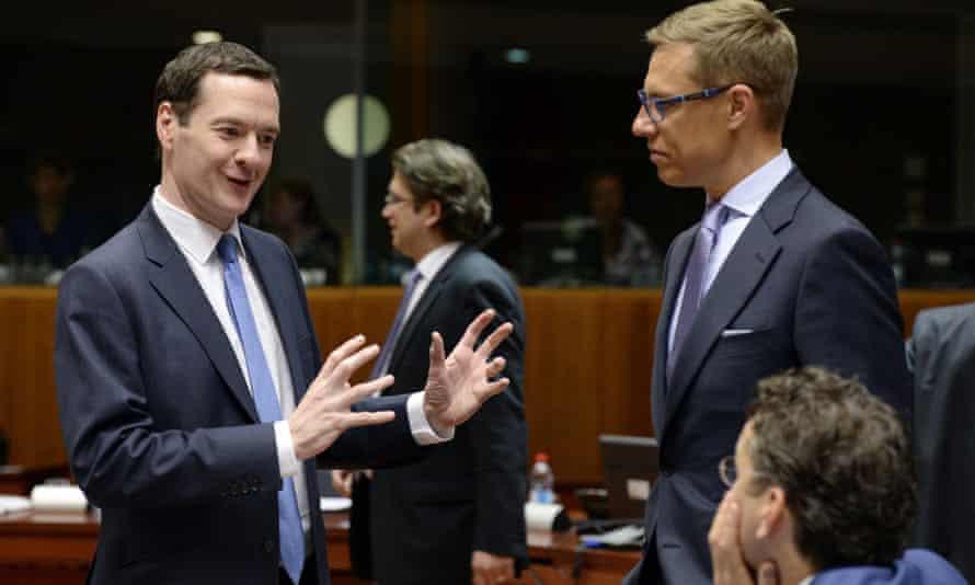 George Osborne at the EU council building in Brussels