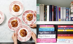 cooking pastry and cookbooks on a shelf