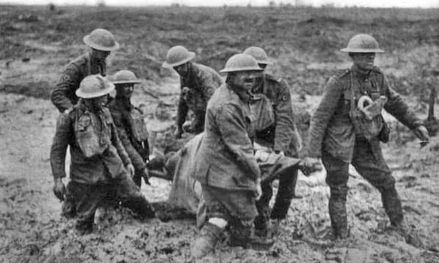 Stretcher bearers during the Battle of Pilckem Ridge, part of the Third Battle of Ypres.