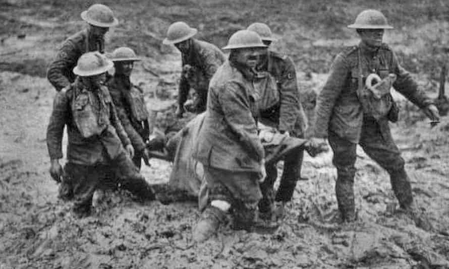 Stretcher bearers in Passchendaele, August 1917: 'The tally of lives lost and resources wasted.'