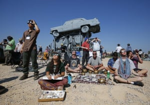 Solar Eclipse, Alliance, USA - 21 Aug 2017Mandatory Credit: Photo by ddp USA/REX/Shutterstock (9011678b) Observers watch as a total solar eclipse darkens the sky over Carhenge. Solar Eclipse, Alliance, USA - 21 Aug 2017