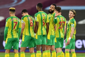 Kyle Bartley directs his team mates as the Baggies get ready to defend a free-kick.
