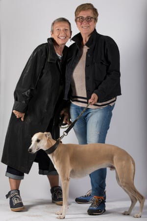 Adele Fowles, left, and Alison Kershaw with their whippet Ziggy.