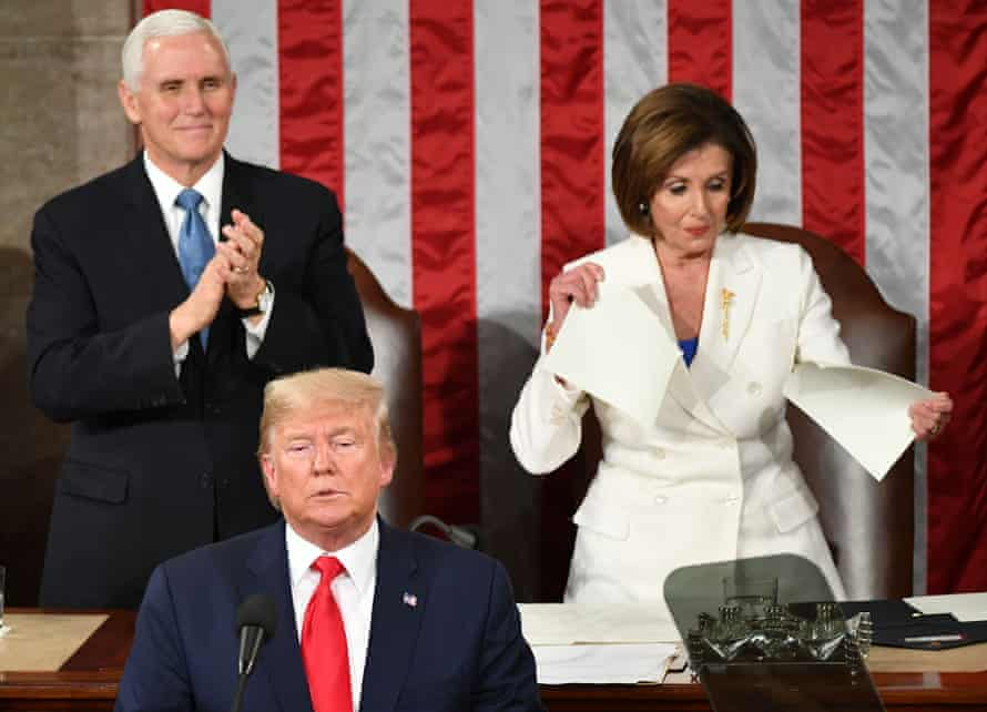 Nancy Pelosi rips up a copy of Donald Trump's speech, after his State of the Union address in February 2020.