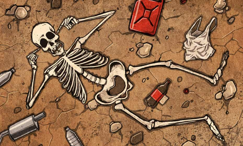 A skeleton blocks its ears surrounded by rubbish on arid ground.