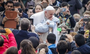 Pope Francis during his weekly general audience in Vatican City