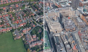 The geometric and traditional centres of Liverpool. Olive Grove (left) and the Town Hall (right)