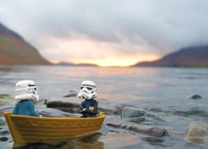 Two stormtroopers in a boat