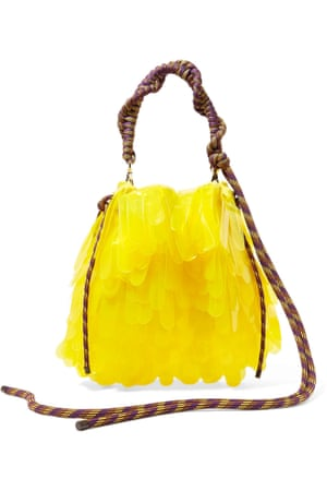 Sunny side upBold colour and utility are two strong trends for SS19. Dries Van Noten's PVC tiered yellow tote, suspended from braided climbing rope and carabiners, nods to the season's utility trend and will tick both boxes.  £470, net-a-porter.com