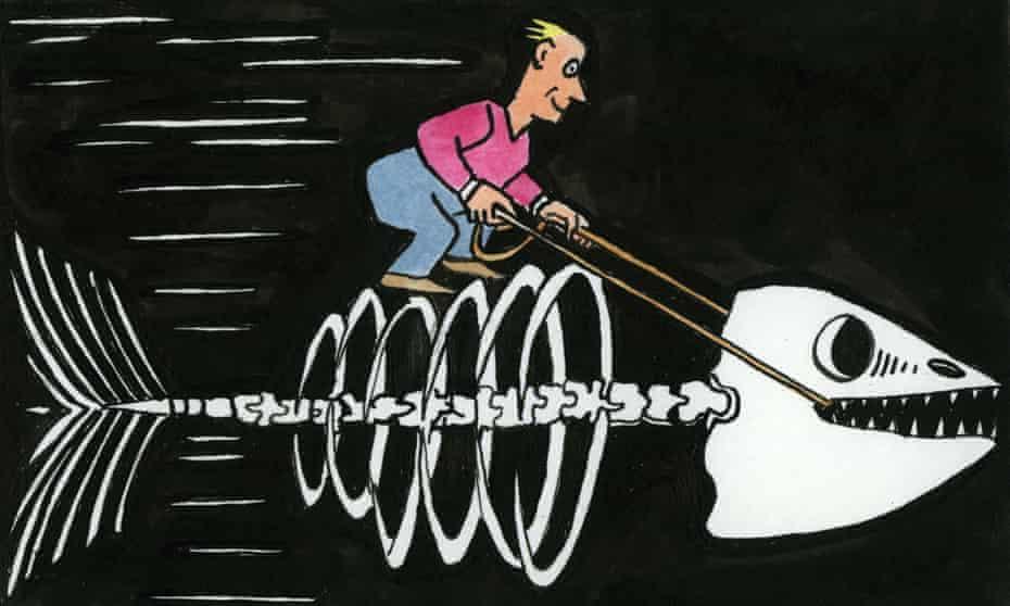 Man riding accelerating skeletal fish - Illustration by Andrzej Krauze