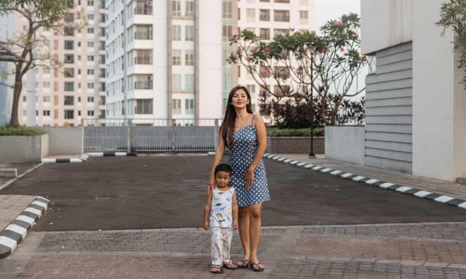Indri Lestari and her son at Cosmo Park