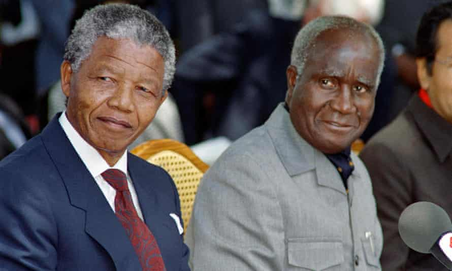 Kenneth Kaunda, right, and Nelson Mandela attending a press conference in the Zambian capital Lusaka, 1990.