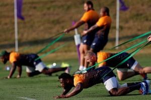 South Africa's flanker Siya Kolisi (bottom) during a training session at Omaezaki Nexta Field in Shizuoka